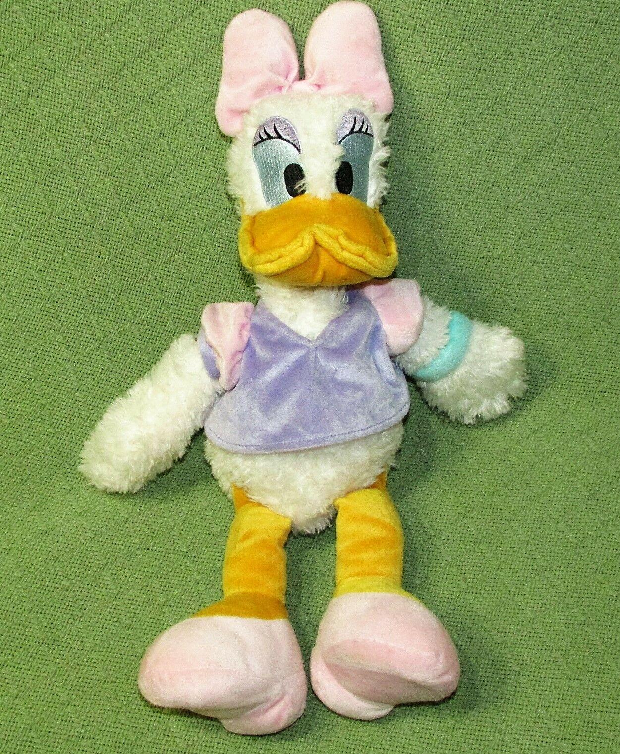 "Disney 20"" DAISY DUCK Scruffy Plush Stuffed Animal Doll Original Toy Purple Pink"