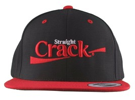 Dissizit Straight Crack Yupoong Wool Blend O/S Cap Black Red Embroidered Hat NWT