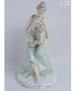 Porcelain Mother and Baby Sculpture Ceramic Maternal Love Statue - $150.00