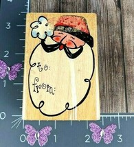 """StampCraft Rubber Stamp Gift Tag Santa To From 3"""" Christmas #C66 - $5.69"""