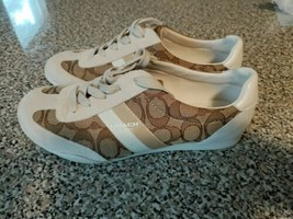 Coach Kelson Beige/Brown Suede Leather Logo Print Sneakers Shoes Womens Size 7 B - $37.39