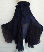 SACRED THREADS OS M L purple flowers asymmetrical hem voile boho Skirt New - $28.22