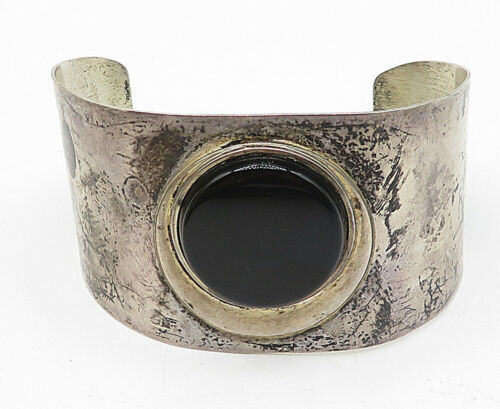 925 Sterling Silver - Vintage Round Black Onyx Wide Cuff Bracelet - B5041 image 2