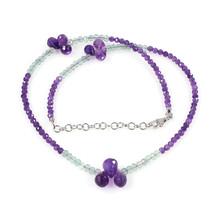 Amethyst & Fluorite Gemstone Designer Necklace with 925 Sterling Silver ... - $35.99