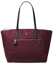 NWT MICHAEL KORS KELSEY TOP ZIP LARGE NYLON TOTE PLUM - $106.43