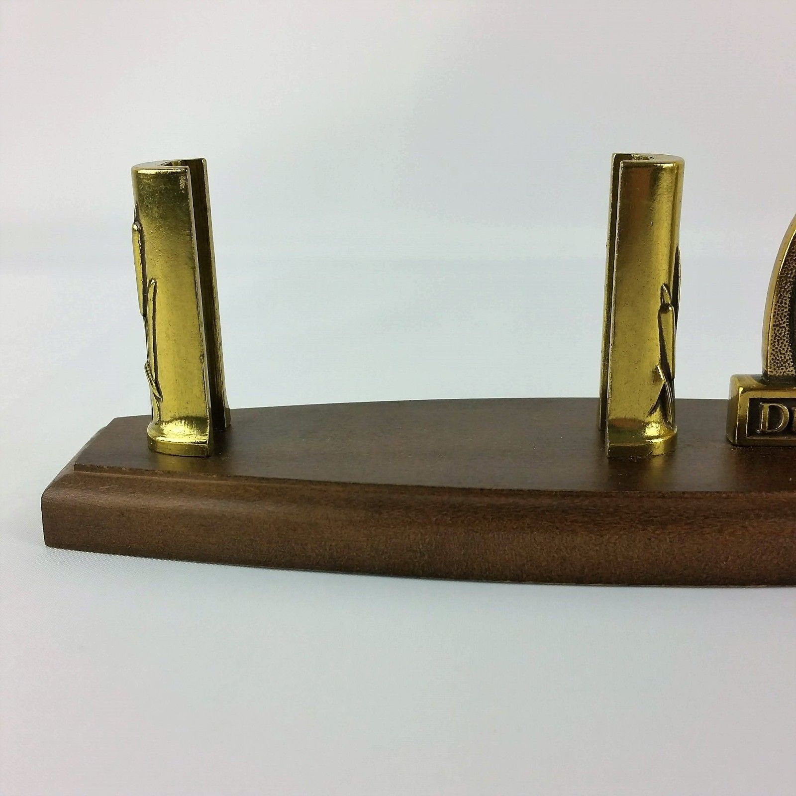 Ducks Unlimited Business Card Holder Brass And Wood Vintage Vtg Made in Taiwan