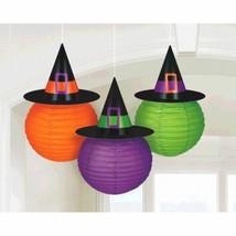 3 Lanterns Witch Hat Halloween Orange Green Purple - $16.49