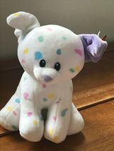 Gently Used Ty Sprinkles White with Pastel Confetti Plush Puppy Dog Stuffed Anim image 6