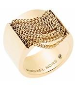 MICHAEL KORS LADIES GOLD TPLATED MODERN FRINGE RING MKJ5795710 - £72.65 GBP