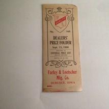 RARE ANTIQUE SEPT 1908 DEALERS PRICE FOLDER FARLEY & LOETSCHER MFG. DUBU... - $26.79