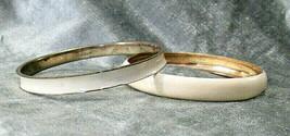 Vintage Lot of 2 Cream (Off White) Enamel and Brass Tone Bangle Bracelets - $8.99