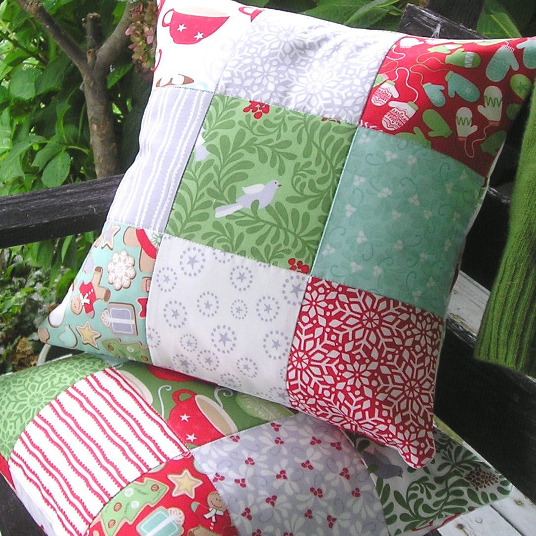 Primary image for Handmade Modern Christmas Pillow Cover Pair 14 Inch In from the Cold Kate Spain