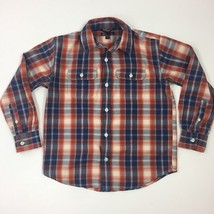 GAP Kids Boy's Youth Orange Button Down Plaid Dress/Casual Shirt  Sz. Medium 8-9 - $12.19