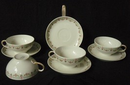 Guerin Limoges cup and saucer GUE372 Greek Key, Floral lot of 4 - $24.74