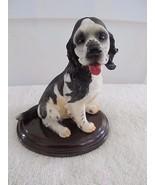 Spaniel /Retriever Long Hiar Black White Sitting on Base Puppy Dog Figurine - $8.70