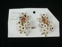 Emmons Clip On Earrings White Flowers Colorful Rhinestones - $19.75