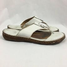 Born White Leather Flip Flip Sandals, Women's Size 9 - $23.74