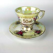 Ardco Teacup & Saucer Fine Quality Dallas 50th Anniversary Lusterware Japan - $24.99