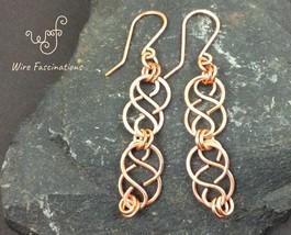 Handmade copper earrings: Celtic chained links - $20.00