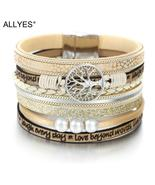 ALLYES Tree of Life Charm Pearl Leather Bracelets for Women Fashion Ladi... - $11.99