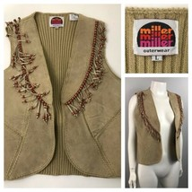 1970s Leather Fringe Vest Top / Beige Sleeveless Suede Sweater Vest  / M... - $45.00