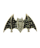 Bat Pin Brooch Big Black Rhinestone Crystal For Halloween - $10.20