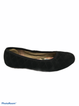Lands End Womens Size 8 Black Suede Slip On Flats Comfort Shoes House Slippers - $14.20
