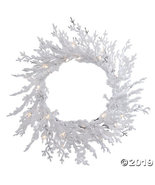 """Vickerman 30"""" Flocked Winter Twig Christmas Wreath with Clear Lights - $62.75"""