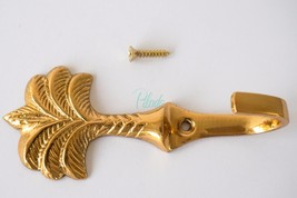 Brass Metal Golden Palmtree Palm Tree Coat Hook Towel Gold Golden Vintag... - $5.94