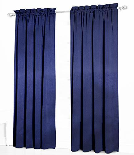 Urbanest Pair of 2 Faux Silk Drapery Curtain Panels with Lining, Navy Blue, 50-i