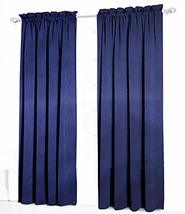Urbanest Pair of 2 Faux Silk Drapery Curtain Panels with Lining, Navy Bl... - $39.59
