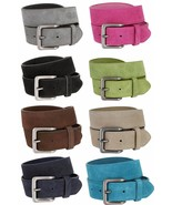 """Suede Leather Casual Jean Belts With Silver Buckle, 1-1/2"""" Wide Size 30-... - $12.37+"""