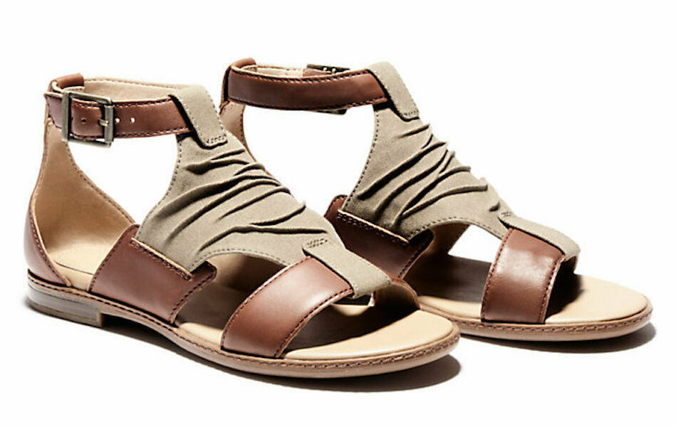 Primary image for Womens Timberland Cherrybrook Sandals - Brown Leather/Olive Canvas, Size 7.5