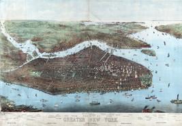 1905 Karte Vögel -Eye View of Greater New York Joseph Köhler Wandposter Druck - $12.86