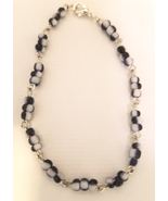 black and white glass seed beaded chain bracelet handmade jewelry  - $4.99