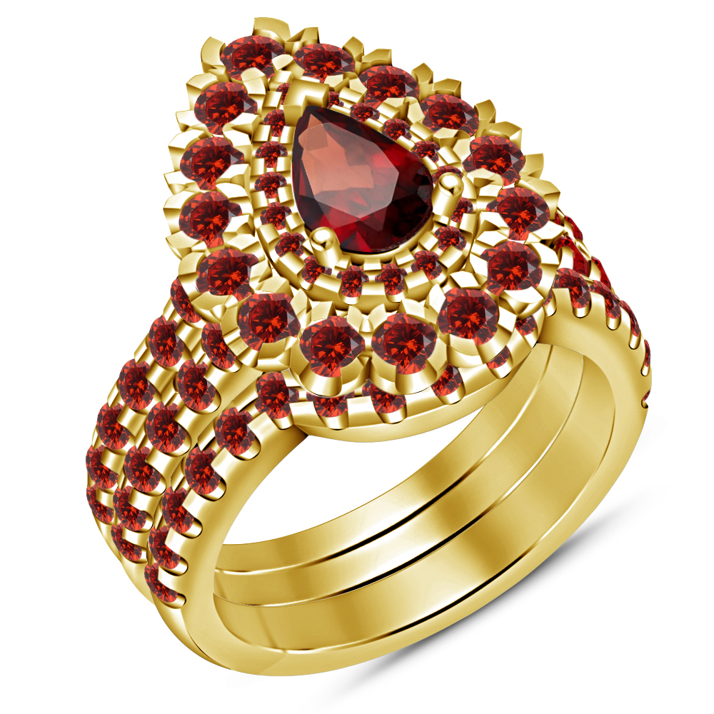 Primary image for 14k Gold Finish 925 Sterling Silver Her Wedding Red Garnet 3pcs Bridal Ring Set