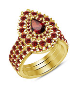 14k Gold Finish 925 Sterling Silver Womens Wedding Red Garnet 3pcs Trio ... - $118.99