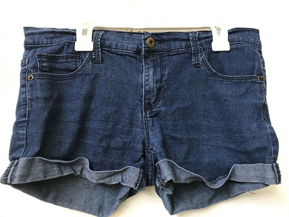 Primary image for Forever 21 Womens Basic Classic Dark Wash Blue Denim Cuffed Jean Shorts Size 28