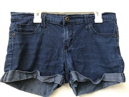 Forever 21 Womens Basic Classic Dark Wash Blue Denim Cuffed Jean Shorts ... - $12.95