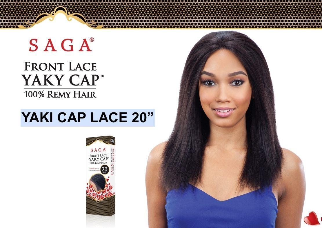 """SHAKE N GO SAGA REMI FRONT LACE YAKI CAP WIG 100% HUMAN HAIR 20"""" - $85.99"""
