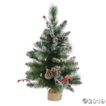 Vickerman 2' Snow Tipped Pine and Berry Christmas Tree with Warm White LED Light - $69.00