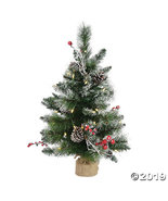 Vickerman 2' Snow Tipped Pine and Berry Christmas Tree with Warm White L... - $69.00