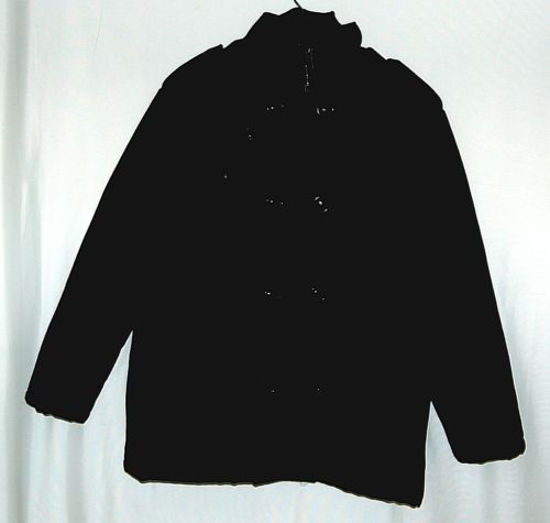 Trust MW207J Large Black Wool  Nylon zippered Peacoat Style Coat