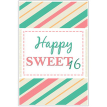 Teal and Pink Striped Sweet 16 Sixteen Birthday... - $18.50