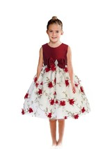 Posh Red/White Floral Embroidered Flower Girl Holiday Dress, Crayon Kids... - $44.09+