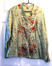 Women's Size 22W Green Floral Button Down Top Faded Glory - $14.99