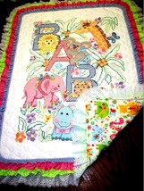 "Hand Quilted  XStitched ""JUNGLE BABIES"" Baby Quilt Crib Blanket add baby... - $179.99"