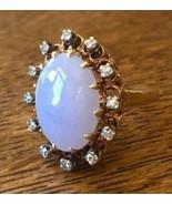 Large Lavender Jadeite Chinese Victorian or Post 14k 15k gold Diamond ha... - $4,018.50