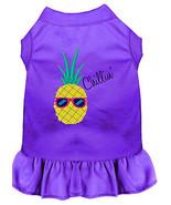 Pineapple Chillin Embroidered Dog Dress Purple Lg - $25.98