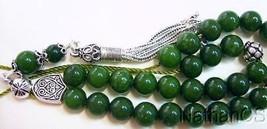 Deep Green Jade & Sterling Silver Greek Komboloi Worry Beads - $103.95